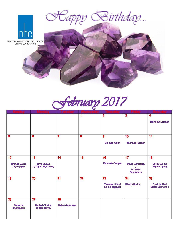 February 2017 Employee Birthday Calendar