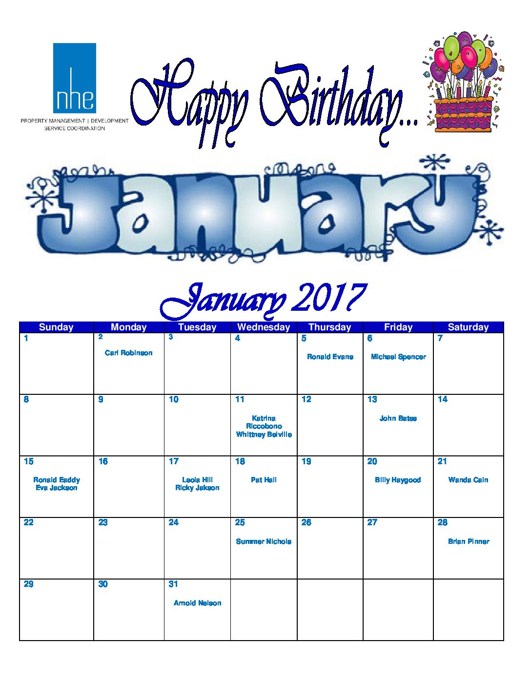 January 2017 Employee Birthday Calendar